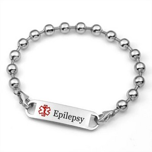 Womens Beaded Medical ID Epilepsy Bracelet