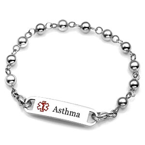 Womens Stainless Steel Beaded Asthma Bracelet