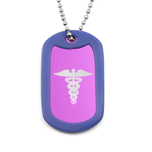 Splashes of Color Medical Dog Tags with Silencers
