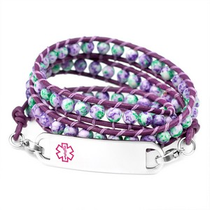 Violet & Green Beaded Medical Alert Bracelet