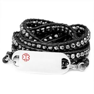 Hematite Bead Black Leather Multi Wrap Medical ID Bracelet