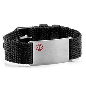 Adjustable Black Polyester Medical ID Bracelet