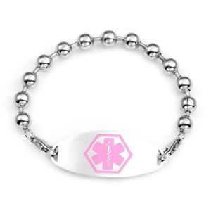 Kari Beaded Bracelet & Pink Medical ID Tag