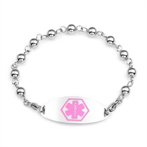 Gina Bead Bracelet & Pink Medical ID Tag