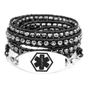 Hematite Bead Leather Multi Wrap Black Medical ID Bracelet