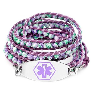 Violet & Green Multi Wrap Leather Purple Medical ID Bracelet
