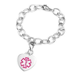 Lynne Medical Heart Charm Bracelet 7 1/2 Inch Pink