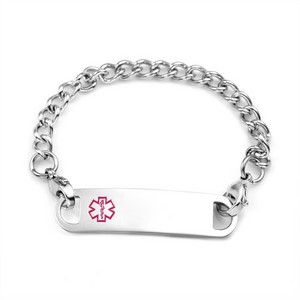 Stainless Chain Bracelet & Pink Medical Tag 5 1/2 Inch