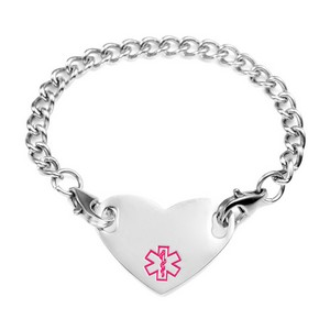 Girls Pink Medical Heart Bracelet  5 1/2 Inch