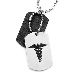 Sparkling Steel Double Medical Dog Tags