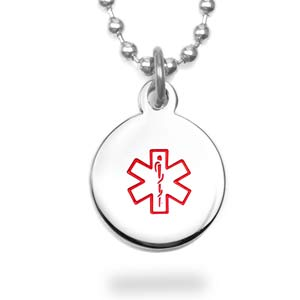Round Stainless Medical Alert Pendant 5/8 Inch