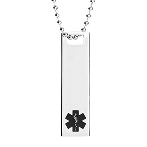 Medical ID Alert Polished Steel Medium Pendant