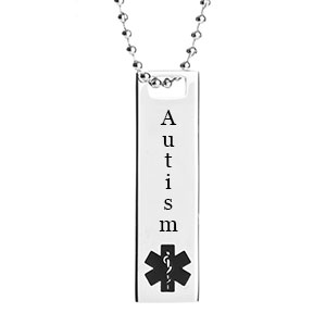 Polished Steel Autism Medical ID Necklace