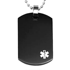 Black Stainless Medical ID Necklace with White Symbol