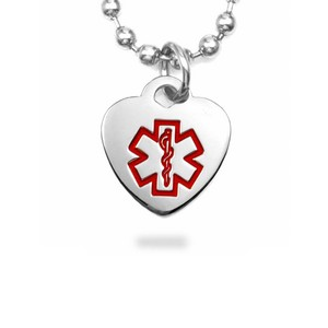 Petite Stainless Steel Heart Medical ID Pendant