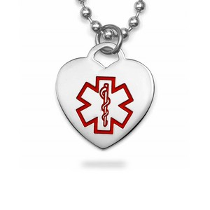 Medical ID Stainless Steel Heart Necklace Small
