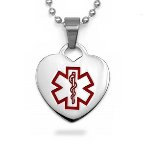 Stainless Heart Medium Medical Pendant