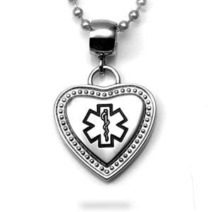 Black Medical Bordered Heart Large Bail Pendant