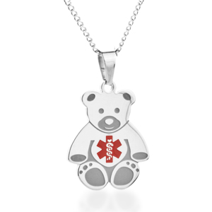 Teddy Bear Medical Kids ID Necklaces