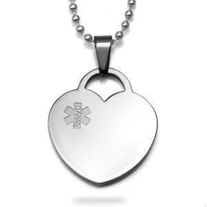Steel Heart Medical Alert Necklaces for Women