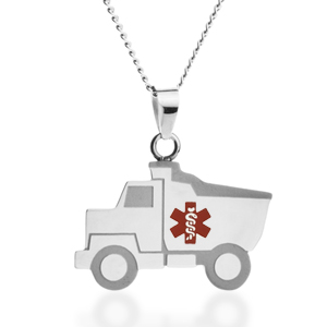 Dump Truck Child ID Necklace