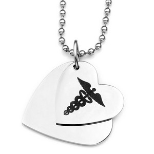 Double Hearts Medical ID Necklace for Women