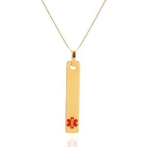 Gold Vertical Bar Medical Alert Necklaces for Women