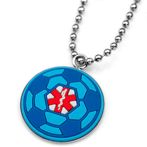Rubber and Stainless Blue Soccer Ball Medical ID Necklace