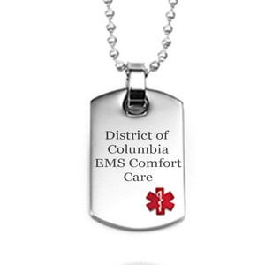 DC DNR Medical ID Stainless Dog Tag Necklace