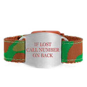 Camouflage Safety Bracelet  Fits 4 - 8 In Wrists