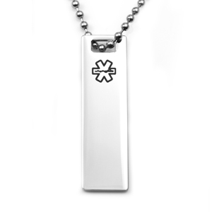 Polished Stainless Medical ID Bar Necklace