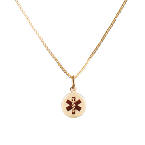 14k Gold Petite Medical ID Necklaces for Women