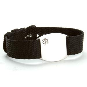 Adjustable Black Medical ID Bracelet