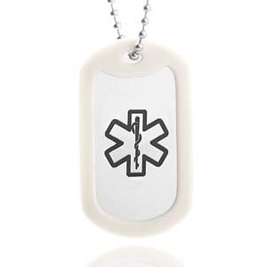 Silver Medical Dog Tag & Silencer with 24 Inch Chain