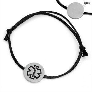 Black Cotton Strap Medical Alert Bracelets