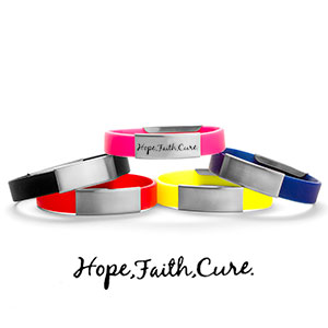 Hope Faith Cure Silicone Medical Alert Bracelets