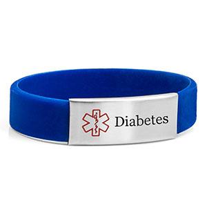 Blue Silicone Diabetic Bracelets