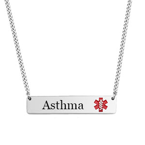 Red Alert Bar Necklace for Asthma