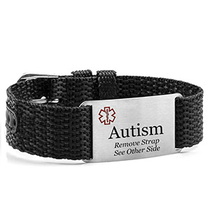 Adjustable Black Polyester Autism Bracelet