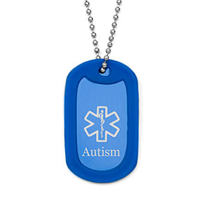 Colored Blue Autism Medical Dog Tag Necklace
