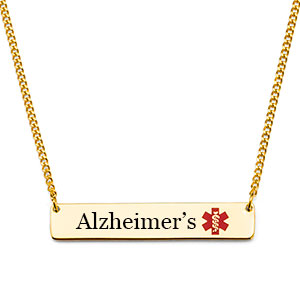 Alzheimers Gold Bar Medical Alert Necklace