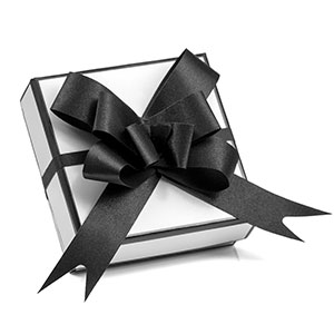 White and Black Gift Box with Black Bow for Jewelry