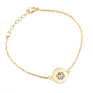 Gold Medical ID Bracelet with  Dainty Round Charm