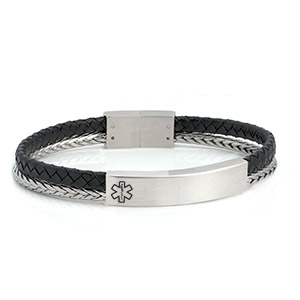 Braided Silver N Black Leather Medical ID Bracelet