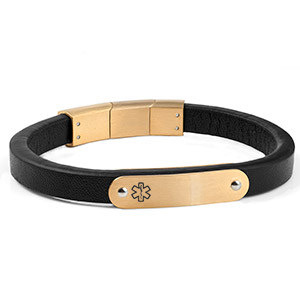Gold and Black Stylish Leather ID Bracelet
