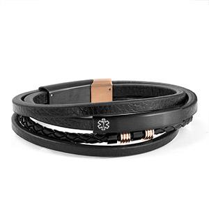 Copper and Black Trendy Stacked Medical Bracelet