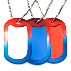 Red White or Blue Medical Dog Tag ID Necklaces