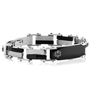 Steel & Black Link Medical Alert Bracelets for Men