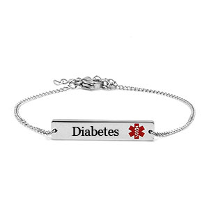 Adjustable Bar Style Diabetic Bracelet