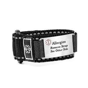 Adjustable Black Allergy Sport Bracelet for Kids